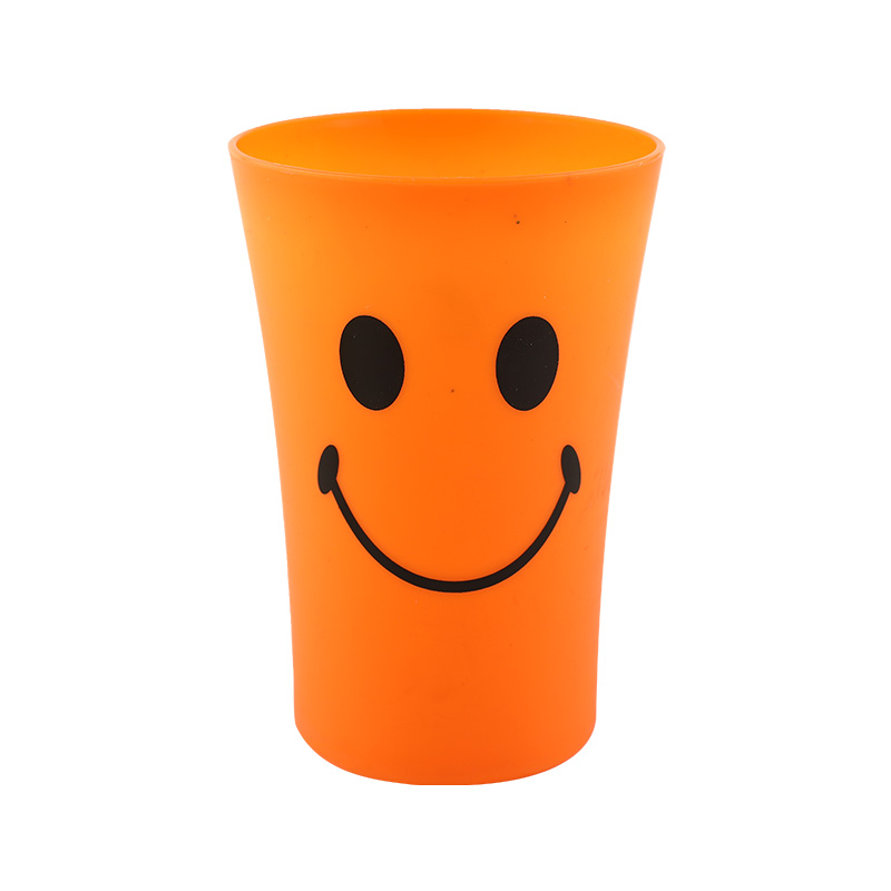 350ml Cheap Reusable Plastic Cup Plastic Tumbler With Big Mouth Smiling Face