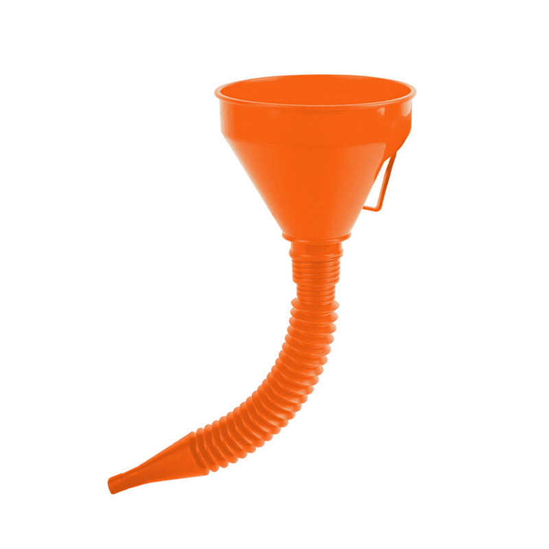 QM Taizhou Huangyan 14.5cm Orange extension flexible pipe thicken filter screen plastic funnel with handle