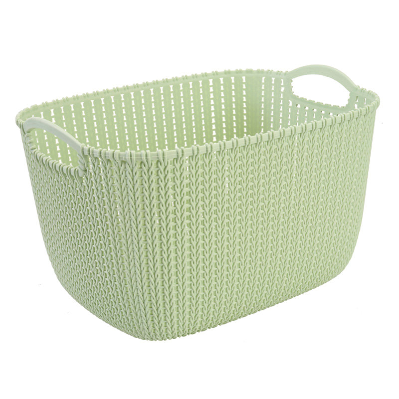 Multi-fonction 3 size flower pattern plastic rattan basket with handle
