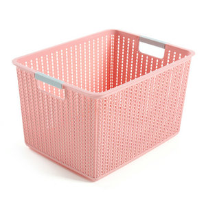 Cheap practical rattan storage box with handle plastic rattan box
