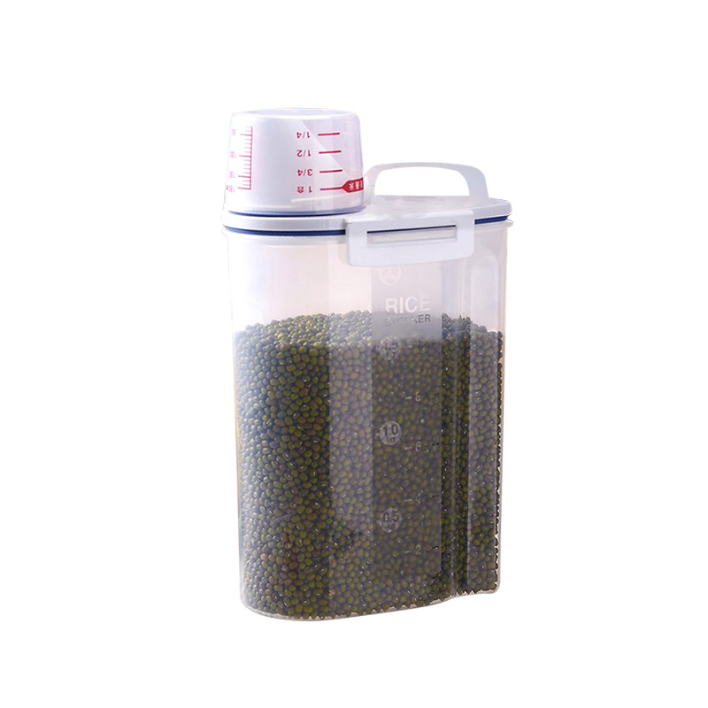 Custom Logo BPA FREE 2.5L Sealed Cereal Rice Storage Bins with Pour Spout and Measuring Jug