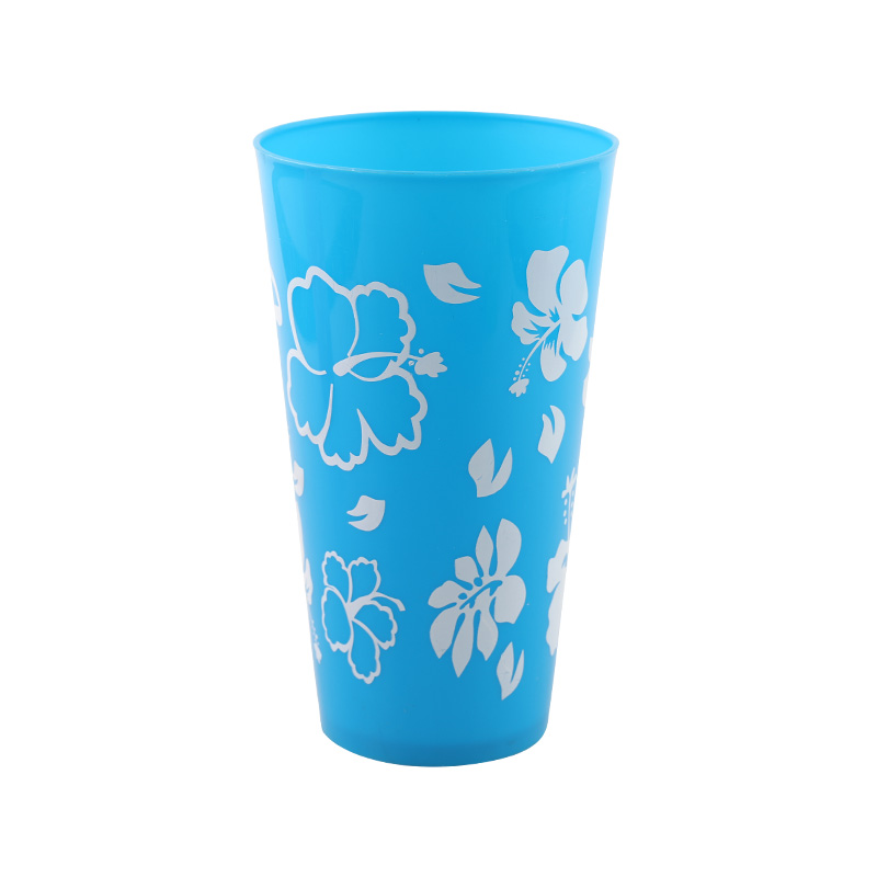 Promotional plastic water cup 600ml large cup OEM printing reusable juice cup