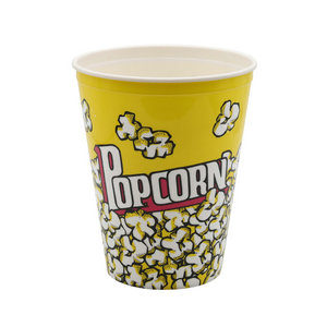 Take Out Custom Logo Printed Plastic Popcorn Bucket with Handle