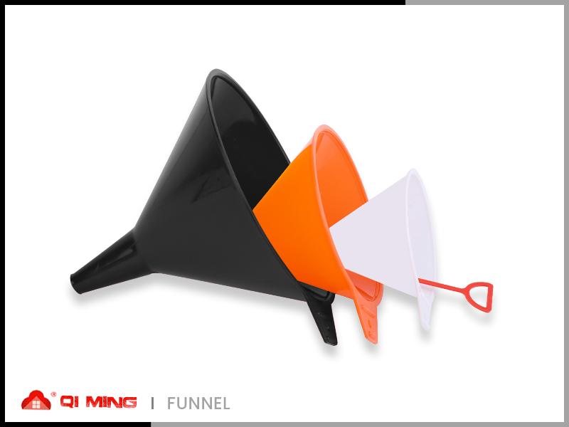 Colored plastic funnel combination